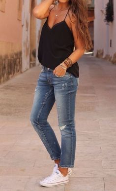 ideas how to wear converse with jeans outfit skinny for 2019 White Converse Outfits, Dressy Outfits, Spring Outfits, Fashion Outfits, Denim Converse, Converse Style, Casual Attire, Converse Sneakers, Looks Chic
