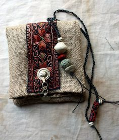 LaTouchables Bags and Things---a little story with a thread running through it.: Wednesday, bring me a cup of coffee please, and I'll be your. Textile Jewelry, Fabric Jewelry, Sacs Tote Bags, Medicine Bag, Handmade Purses, Handmade Bracelets, Boho Bags, Fabric Bags, Small Bags