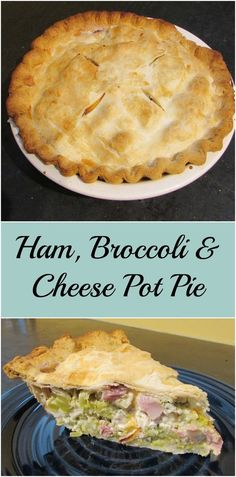 This pot pie is a great way to rework your leftover ham.  Broccoli and cheese love being baked into a pie.  Dinner is served!