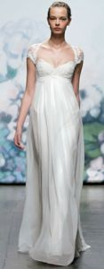 Designer Monique Lhuillier designed a wedding gown from her Fall 2012 collection. Her design that walked the runway takes inspiration from the Empire style period.