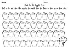 * FREE apple dice game called RACE TO THE APPLE TREE.  Students play in pairs.  They take turns rolling a die and color the same amount of apples.  First student to get to the apple tree wins.