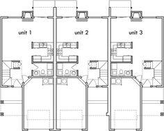 Popular Row House & Triplex Design 3 Bedroom 2.5 Bath One Car Gar