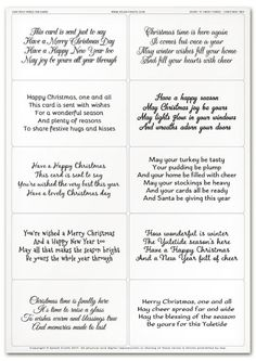 Easy Peely Verses for Cards - Short & Sweet Christmas Sheet 2 Christmas Poems For Cards, Christmas Verses, Diy Holiday Cards, Christmas Sentiments, Card Sentiments, Xmas Cards, Xmas Poems, Christmas Card Wishes, Christmas Pjs