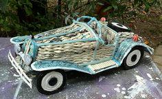 Automobile vintage in carta riciclata intreccio di VERart