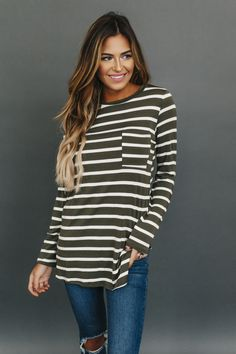 Striped Long Sleeve Pocket Top- Olive - Dottie Couture Boutique