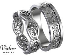 Engagement Bands His and Hers Wedding Bands,Matching Wedding Bands Set,Diamond Wedding Bands Gold,Engagement band,Unique Matching - Welcome Vidar Jewelry by roi avidar! Specializing in Custom Diamond Engagement Bands, Engagement Wedding Ring Sets, Diamond Wedding Bands, Wedding Rings, Bridal Rings, Wedding Stuff, Dream Wedding, Wedding Ideas, Matching Wedding Band Sets