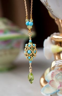 Turquoise and Peridot Handmade Beaded Pendant
