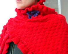 PDF PATTERN Knit Scarf Shawl Crochet Edges and Flower 45