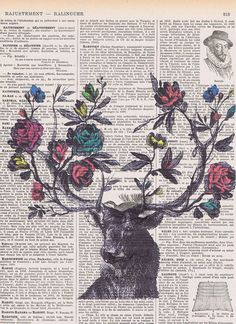 Roses.Flowers.Deer,Antique Book Page Print gift/ home decor, Birthday, buy 3 get 1 FREE.wife,french.paris.colour.mom.dad.nature