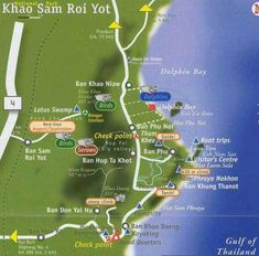 Map of the Bird Sanctuary and Wildlife Reserve at the Khao Sam Roi Yot National Park in Thailand