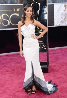 #oscarfashion 2013 Actress Zoe Saldana arrives at the Oscars at Hollywood & Highland Center on February 24, 2013 in Hollywood, California.
