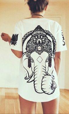 Ganesh Elephant Back White T shirt - Fresh-tops.com