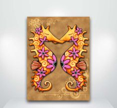 Seahorse and Flowers Fine Art Giclée Print by HollyvisionArt on etsy Surf Art, Sign Printing, Ink Painting, Tropical Fish, Sea Creatures, Amazing Art, Giclee Print, Art Photography, Watercolor