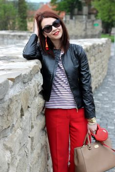 Red trousers, stripes t-shirt, leather jacket