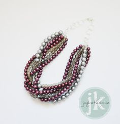 Twisted Pearl Necklace in Marsala and Gray - Marsala, Burgundy, Maroon Pearls Crystal Wedding Jewelry Statement Necklace, Bridesmaid Jewelry Crystal Jewelry, Crystal Necklace, Beaded Necklace, Pearl Necklaces, Bridesmaid Jewelry, Wedding Jewelry, Bridesmaids, Jewelry Art, Jewelry Design