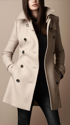 Burberry Mid-Length Wool Twill Trench Coat thestylecure.com