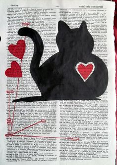 Cat Silhouette with Hearts.  Black cat silhouette and red marker hearts on a recycled dictionary page.The main word CAT is circled in red marker with lines and other boxes with related words connected to the main word.