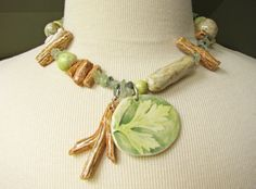 Woodland Walk Necklace Hand Sculpted Beads by TinaFrancisDesigns