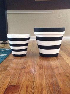 Diy Black And White Striped Flower Pots So Easy Diy