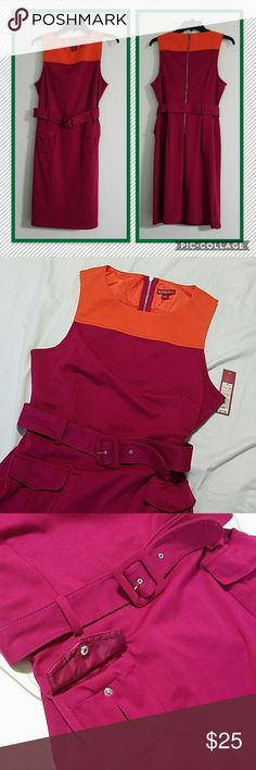 🆕 Pink color block dress NWT Stylish color block dress. Dark pink amd orange. Features two real pockets on front, belt, and zippered closure.  76% polyester, 20% rayon, 4% spandex Machine washable Merona Dresses