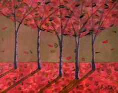 Surreal Home Decor, Fantasy Autumn Painting, Original Red Orange Abstract Tree, Surreal Abstract Painting