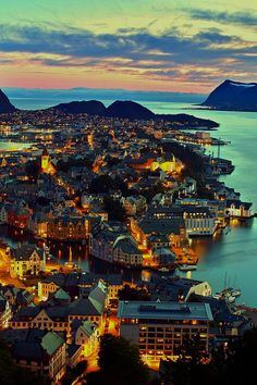 Alesund Norway...Night lights.....Cityscape.....
