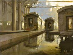 Digital sobre óleo Painting, Interior, Parking Lot, Travel, Artists, Art, Indoor, Paintings, Design Interiors