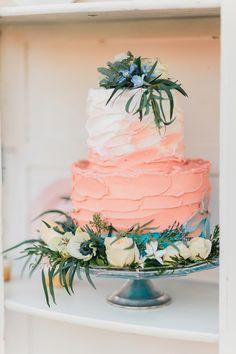 peach wedding cakes - photo by Katie McGihon Photography http://ruffledblog.com/spring-almond-orchard-wedding-inspiration