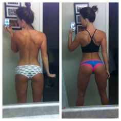 About 9 weeks difference between pics. Really working in building strong glutes and hammies before my bikini competition in February.