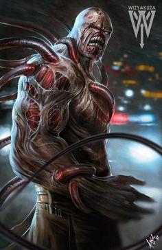 resident evil 3 nemesis by wizyakuza Evil Art, Arkham City, Deviantart, The Wiz, Illustrations, Oeuvre D'art, Game Art, Minions, Science Fiction
