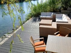 The floor is cheap and waterproof material Outside Flooring, Outdoor Flooring, Composite Flooring, Composite Decking, Pvc Decking, Outdoor Furniture Sets, Outdoor Decor, Virginia Beach, Terrazzo