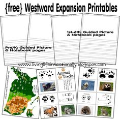 http://www.freehomeschooldeals.com/free-westward-expansion-printables-and-unit-study-resources-lewis-clark-mocassins-nature-study/
