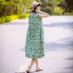 Women Printing Loose Casual Linen Summer Sleeveless Green Dress