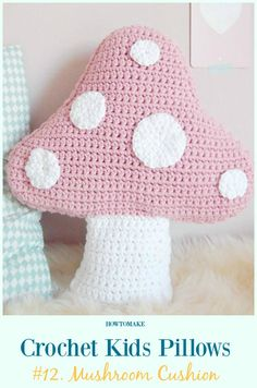 Fun Crochet Kids Pillows Free Patterns : Crochet Mushroom Cushion Free Pattern -Fun Kids Free Patterns – Kids Pillows – Ideas of Kids Pillows Kawaii Crochet, Crochet Diy, Crochet Home, Crochet Gifts, Crochet For Kids, Crochet Ideas, Crochet Cushion Cover, Crochet Pillow Pattern, Crochet Cushions