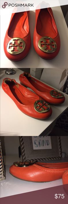 Tory Burch Orange Flat Size 5 flat - worn but in good condition! Unfortunately no box! Tory Burch Shoes Flats & Loafers