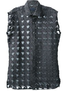 Lanvin - sleeveless houndstooth shirt 6