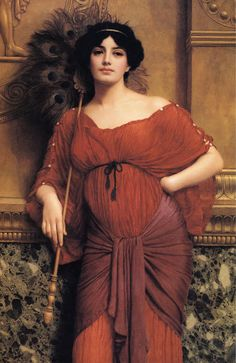 A Roman Matron, Oil by John William Godward (1861-1922, England)  she is absolutely stunning!