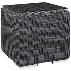 Transitional Gray Outdoor Side Table