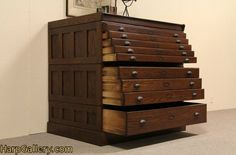 SOLD - Map Chest, Drawing File, Collector's Cabinet - Harp Gallery Antique Furniture