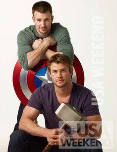 The Chris Evans Blog: The Chris Evans & Chris Hemsworth photoshoot for USA Weekend