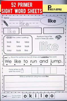 This set of sight word pages provide many ways to practice reading handwriting tracing coloring finding building and writing sentences using various Dolch sight words from the primer word lists. The sheets are engaging and repetitive to promote independence. Use for morning work homework literacy work stations word work activities & more. The flashcards are handy when ensuring students can say the words in isolation. #sightwords #wordwork #ela #literacyactivity #prek #kinder #firstgrade… Fry Sight Words, Sight Word Sentences, Sight Word Flashcards, Sight Words List, Sight Word Worksheets, Dolch Sight Words, Nouns Worksheet, 1st Grade Activities, Sight Word Activities