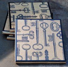 The Skeleton Key Coaster Set by uncommoncoasters on Etsy, $14.00