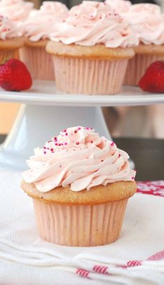 DONE: Fresh Strawberry Cupcakes with Strawberry Buttercream Frosting. Cupcakes were awesome--very fluffy and light. Strawberry Buttercream Frosting, Strawberry Cupcakes, Yummy Cupcakes, Strawberry Recipes, Mocha Cupcakes, Gourmet Cupcakes, Velvet Cupcakes, Easter Cupcakes, Flower Cupcakes