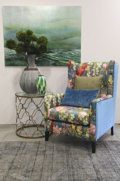 Custom made Kennedy Chair featuring a tropical bird themed fabric. Wingback Chair, Armchair, Cosy Corner, Tropical Birds, Accent Chairs, Fabric, Furniture, Home Decor, Sofa Chair