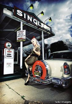 good old gas station pin up background