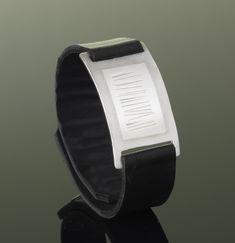 Narrow Wrist Wrap by Karen Klinefelter: Silver & Leather Bracelet available at www.artfulhome.com