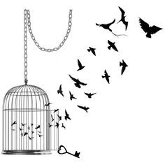 INKWEAR Bird Cage Tattoo ❤ liked on Polyvore featuring fillers, backgrounds, drawings, sketches, decoration, doodles, effects, quotes, text and picture frame