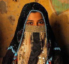 Rashaida Tribe, young woman with traditional wedding hijab, Kassala, Sudan   by christophe_cerisier
