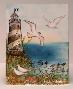 Beautiful Seascape Water colored Art card...blank inside...Stampin'Up! stamps...LightHouse Stampabilities...Birds Impression Obsession!