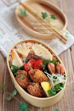 ・竹の子ご飯 ・しし唐の味噌チーズ肉巻きフライ ・三つ葉ともやしのシラス和え ・ウインナーソテー ・プチトマト